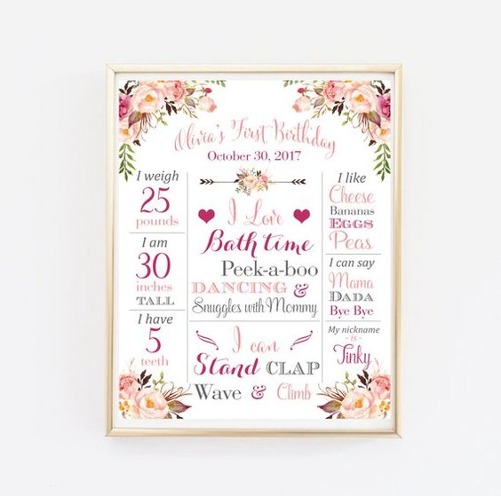 Baby Girl/'s First Birthday Party Memento Poster Ballet Rabbit Pastel Pink Floral P62 Bunny 1st Birthday Milestone Sign Board Printable