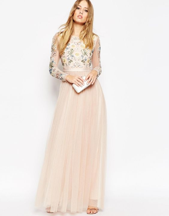 Image 1 - Needle & Thread - Maxi robe dos nu ornée de tulle à manches transparentes
