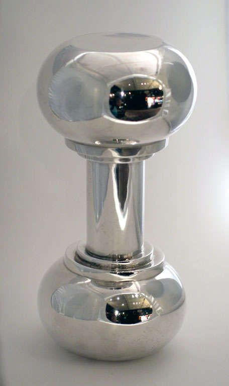 Asprey Silver Plate Cocktail Shaker in the Shape of a Dumbbell / Price upon request