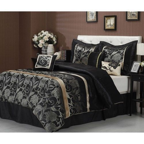 Best Details About New 7 Pc Black Grey Gold Silver Floral 400 x 300