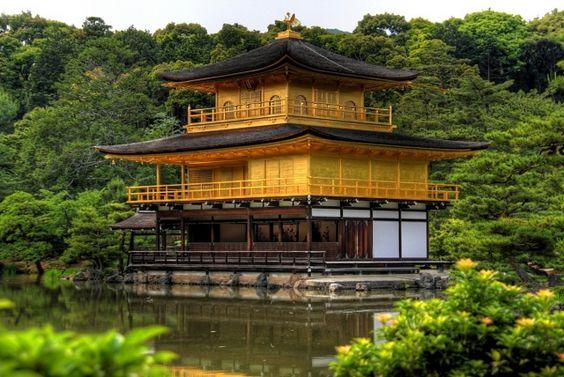Japonsko, Kjóto, pagoda, stromy, jezero, krása
