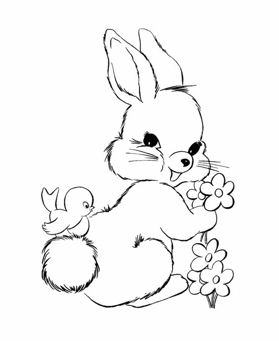 Easter Bunny Coloring Pages | BlueBonkers - Fluffy easter ...