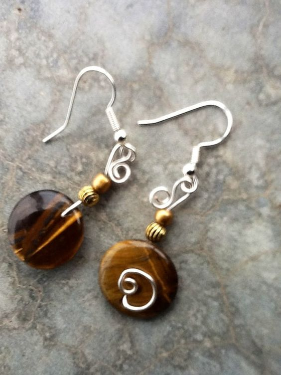 Tiger's Eye Pierced Dangle by WithMyJeans on Etsy, $9.00