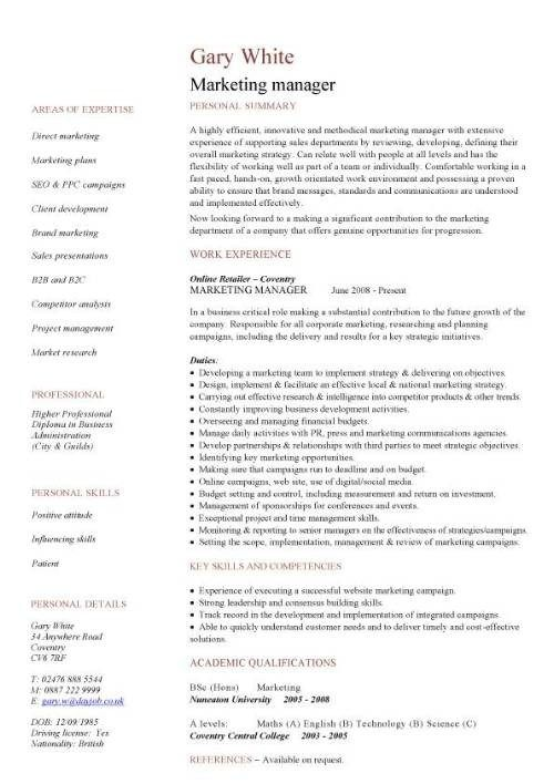 Marketing Manager Cv Sample Sales Campaigns Promotions Cv Template Cv Template Uk Resume Template
