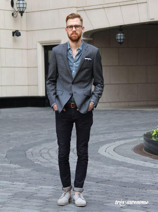 Men's Charcoal Blazer, Blue Chambray Long Sleeve Shirt, Black