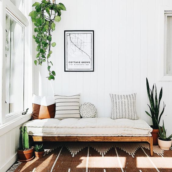 Restoring home, Boho, bohemian, urban outfitters, hopper daybed, UO Home, Mudcloth, pop and Scott, Pampa, mapiful, vertical shiplap, cactus, terra cotta, hanging plant, snake plant, neutral decor, neutral home, daybed
