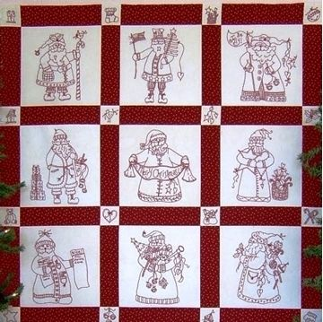 "Show details for ""Here Comes Santa"" RedWork Quilt - Hand Embroidery"