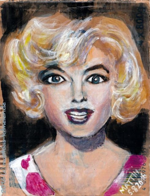 """Marilyn Monroe - In Memoriam 2016"" - That's a wild one! 😊 Actually I just wanted to check out again how to paint with acrylics on a scrap of cardboard. I even used the printed side, it's lacerated on the left edge. What a easy-going painting, because it just was a ""test"" and it got better and better (ca.10,5 x 8 inch)  #MarilynMonroe #Acrylic #Portrait #Cardboard"