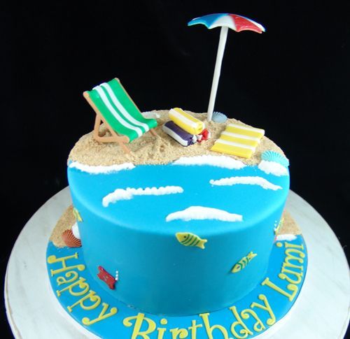 Beach Themed Birthday Cake With Images Beach Birthday Cake