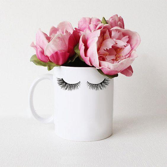 Lashes | White Coffee Mug  Care Instructions: Wash before first use. Dishwasher top rack safe. Due to its handmade nature, shape of white mug may