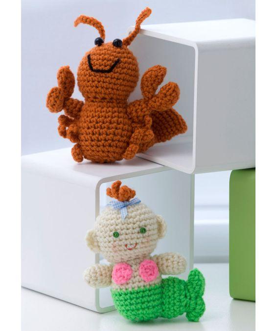 Crochet Little Lobster & Baby Mermaid