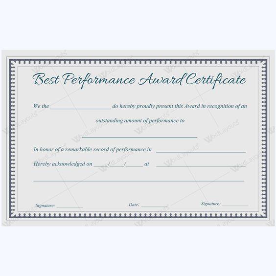 Sample OF Best Performance Certificate Template #performanceaward - army certificate of training template