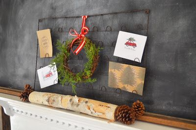 Christmas Card Display | Little White House Blog (Bed Spring Card Holder from Painted Fox Treasures)