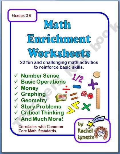 Printables Enrichment Math Worksheets math enrichment worksheets with answer keys 6th 8th grade keys