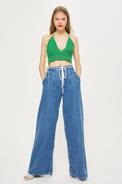 MOTO Mid Blue Pleated Wide Leg Jeans