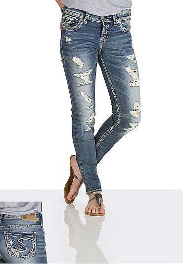 silver jeans co. � Suki destructed crochet skinny ankle jeans (original price, $98) available at #Maurices