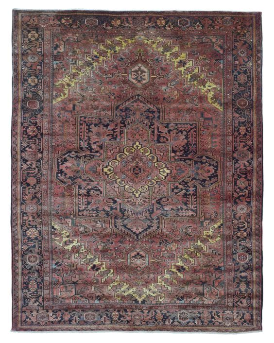 Semi-Antique Brick Red and Black Persian Heriz Oriental Rug 10'4X13'