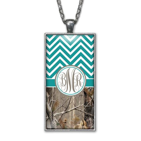 Turquoise Chevron Camo Monogram Pendant Charm Necklace Personalized Country Girl Silver Jewelry
