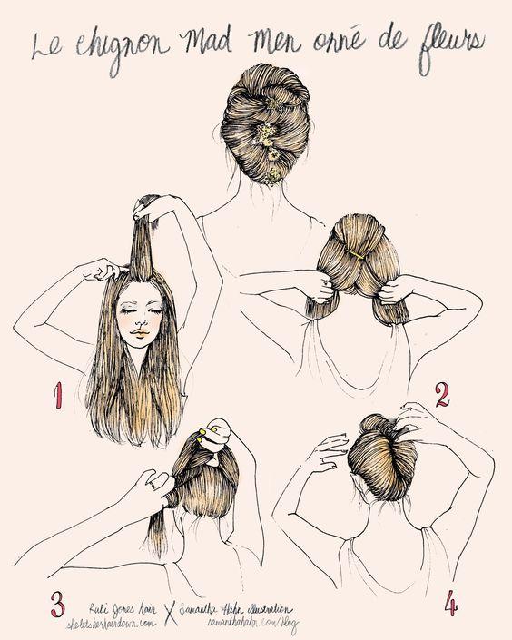 Rubi Jones X Samantha Hahn illustrative hair how-to's: chignon madmen avec fleurs
