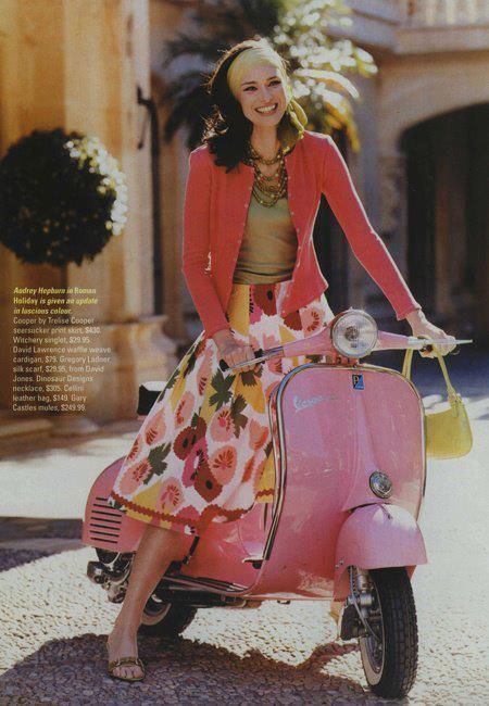 scooter girl girls on scooters pinterest pink roses pink vespa and chang 39 e 3. Black Bedroom Furniture Sets. Home Design Ideas