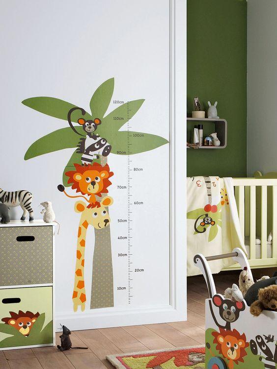 Pegatina medidor animales habitaci n beb ni o habitaci n for Pegatinas de decoracion para dormitorios