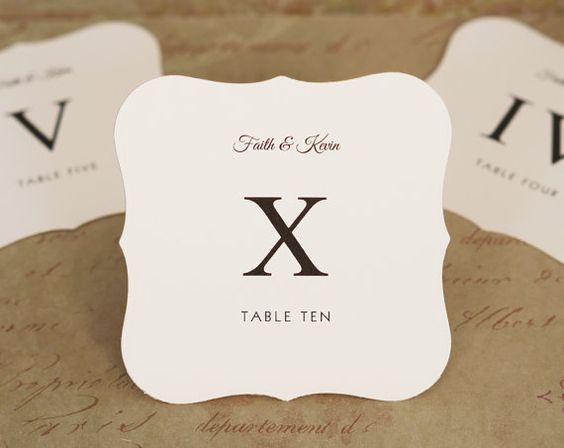 Wedding Table Number Cards - Roman Numerals - Flat Single Sided - Die Cut Top Note Shape - Custom Printed