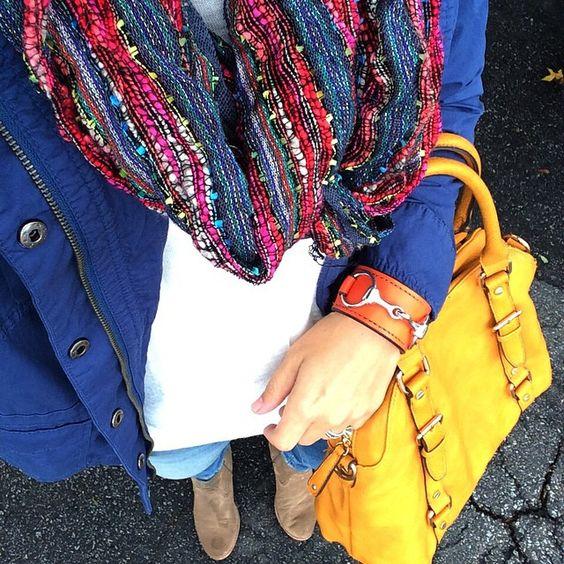 Blue Jacket, Jewel Toned Infiniti Scarf, Jeans, Bag & Orange Cuff