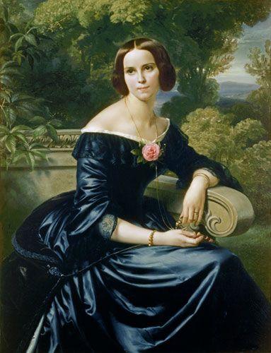 """""""Bildnis der Sophie Eugenie Freifrau von Mumm, geborene Lutteroth"""" (1844) von Carl Ferdinand-Sohn (geboren am 10. Dezember 1805 in Berlin, gestorben am 25. November 1867 in Köln), deutscher Maler."""