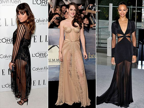 Lea Michele (in Zimmerman), Kristen Stewart (in Zuhair Murad) and Zoë Saldana (in Prabal Gurung)