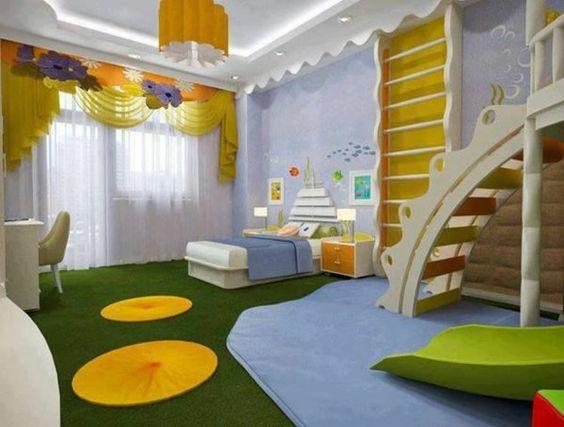 mit gelben akzenten kinderzimmer gestalten treppen bett