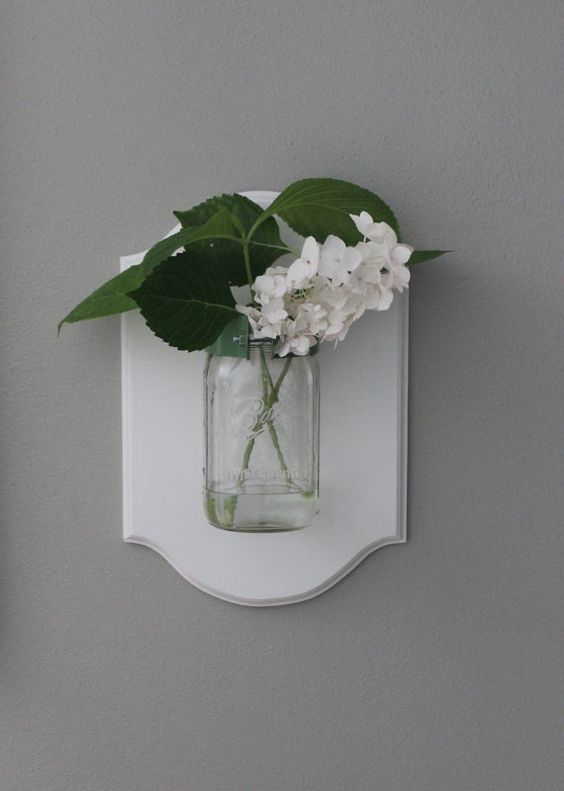 Ball Mason Jar Flower Holder Candle Vase Decor Cottage Chic Wall Sconce Decor Apartment ...