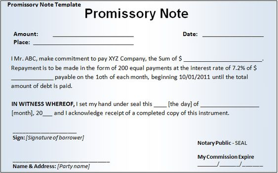 Promissory Note Template Free \ Premium Templates v Pinterest - form of promissory note