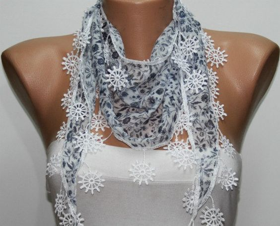 Gray Scarf Cotton Scarf Headband Necklace Cowl with  Lace Edge