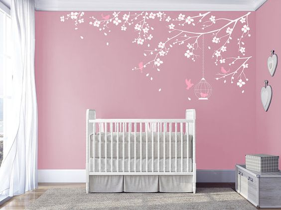 Branch wall Decal Baby Nursery Decals Girls Room Decal Cherry Blossoms Tree Decal Nursery room Floral wall decal living room bedroom sticker on Etsy, $64.00