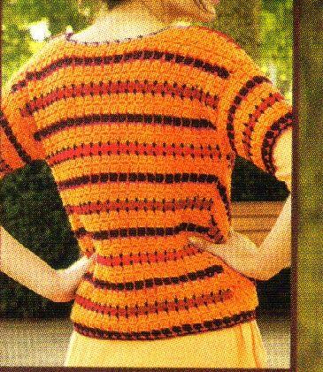 una prenda distinguida con detalles de motivos en colores vibrantes.     materiales:   150 gramos de lana acrilica fina en color naranja y ...
