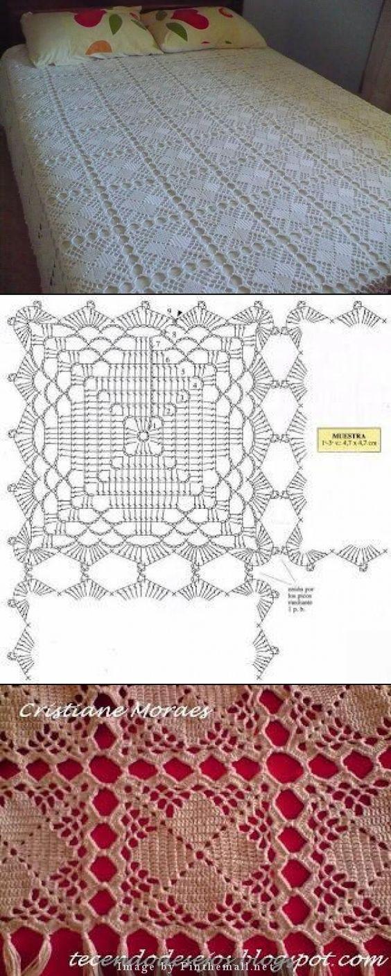 I'm in love with this bedspread ~ http://estantedocroche.blogspot.com/2012/02/blog-post.html ~ Chart for crochet lace square block here: http://tecendodesejos.blogspot.com.br/2010/06/manta-para-sofa-com-squares-de-croche.html