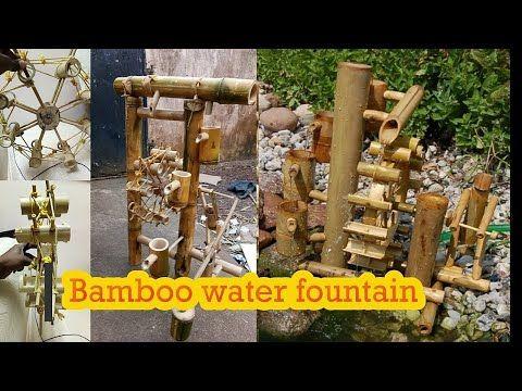 Homemade Water Fountain Using Bamboo Youtube Bamboo Water Fountain Homemade Water Fountains Wooden Clock