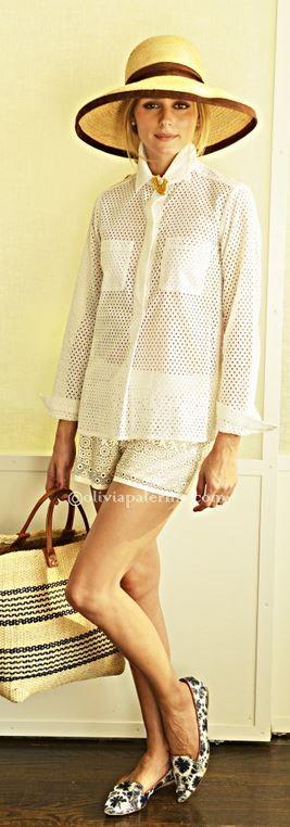 blusa blanca, malla, verano chic, Carolina Herrera