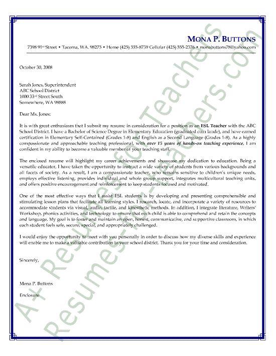Esl English As A Second Language Teacher Cover Letter Sample Cover Letter Teacher Teaching Cover Letter Letter To Teacher