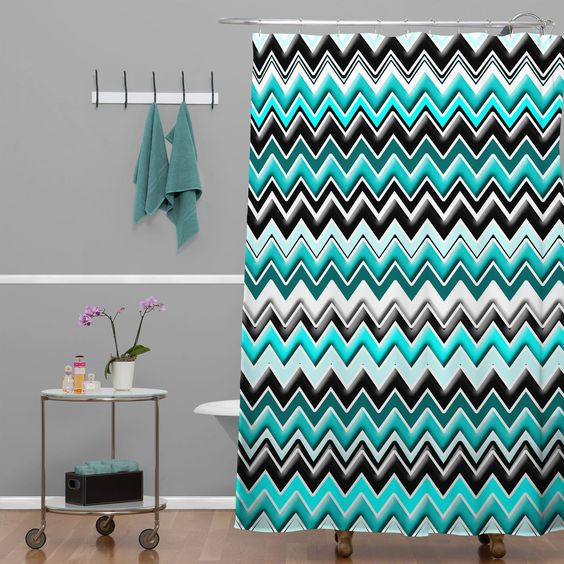 Shower Curtains black and blue shower curtains : Madart Inc. Turquoise Black White Chevron Shower Curtain | DENY ...