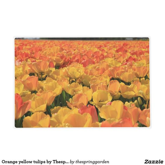 Orange yellow tulips by Thespringgarden Laminated Placemat