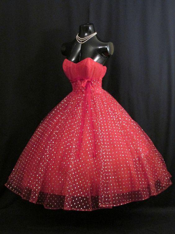 Red dress prom 50s