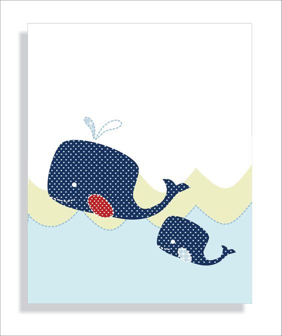 Navy Blue Whale Nursery wall art Children's Art by FieldandFlower, $24.00
