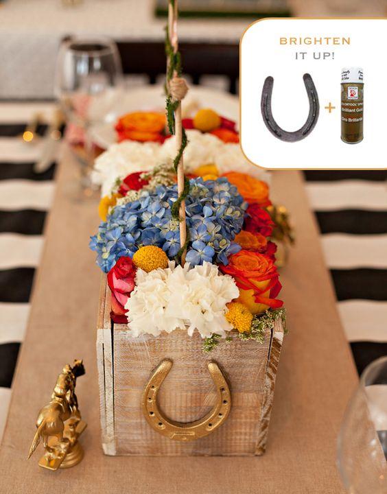 centre de table fleur + fer à cheval