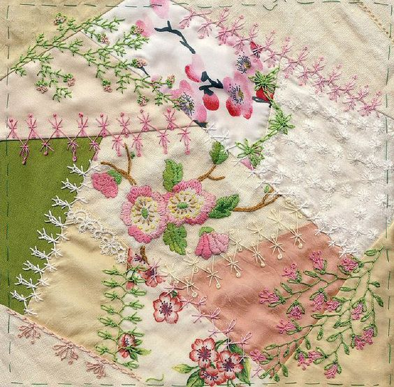 I ❤ crazy quilting & embroidery . . . Apple Blossom CQ Block 9 almost finished - just need to add something to the tatting, and do Blanket Stitch around the edges.  ~By LindaB: