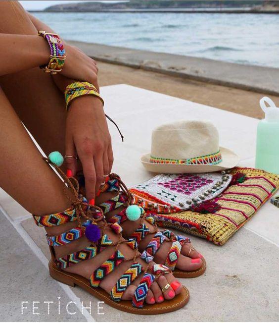 sandalias romanas bohemias, tejido artesanal