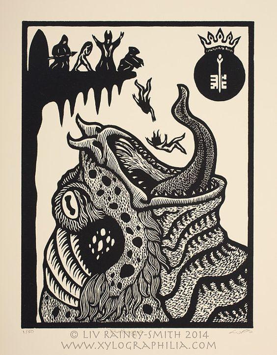 Tsathoggua Toad God Necronomicon woodcut print 11 x by Raineysmith, $80.00