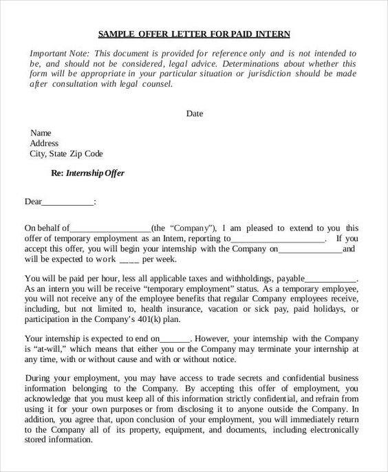 internship offer letter template free word pdf format download - internship offer letter