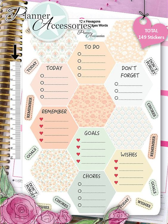 Sticker Hexagons Erin Condren Happy Planner von EmelysPlannerShop: