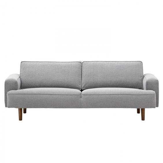 Sofa Navona (3-Sitzer) - Webstoff - Walnuss - Stoff Saia Hellgrau